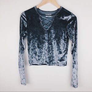 HOLLISTER Grey Velvet Long Sleeve Lace-up Crop Top